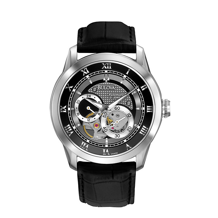Bulova Men's Stainless Steel Skeleton Black Strap Watch - Product number 1012975
