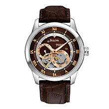Bulova Men's Stainless Steel Skeleton Brown Strap Watch - Product number 1012983