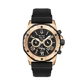 Bulova Men's Rose Gold Stainless Steel Black Strap Watch - Product number 1013076