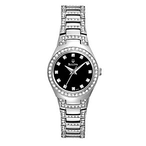 Bulova Ladies' Black Dial Stainless Steel Bracelet Watch - Product number 1013122