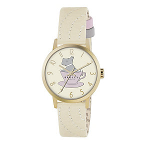 Radley Ladies' Gold-Plated Cream Leather Strap Watch - Product number 1013289