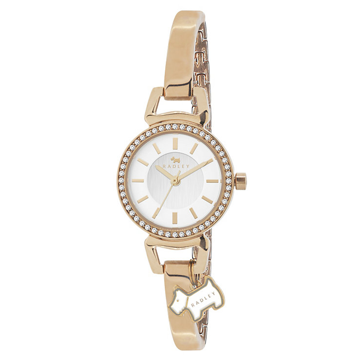 Radley Ladies' Dog Charm Rose Gold-Plated Half Bangle Watch - Product number 1013483