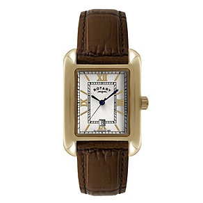 Rotary Men's Rose Gold-Plated Brown Leather Strap Watch - Product number 1013599