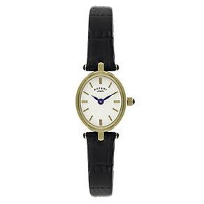 Rotary Ladies' Gold-Plated Black Leather Strap Watch - Product number 1013718