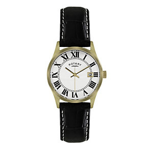 Rotary Men's Gold-Plated Black Leather Strap Watch - Product number 1013726