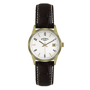 Rotary Men's Gold-Plated Black Leather Strap Watch - Product number 1013734