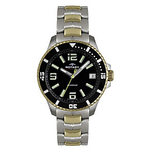 Rotary Men's Black Dial Two Colour Bracelet Watch - Product number 1013793