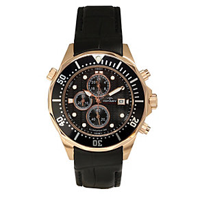 Rotary Rose Gold-Plated Black Leather Strap Watch - Product number 1013815