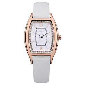 Oasis Ladies' Rose Gold Tone White Leather Strap Watch - Product number 1014242