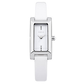 Oasis Ladies' Rectangle Alloy White Leather Strap Watch - Product number 1014315