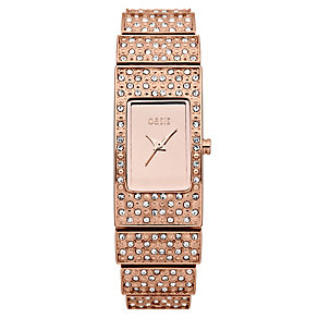 Oasis Ladies' Rose Gold Tone Stone Set Bracelet Watch - Product number 1014331
