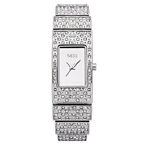 Oasis Ladies' Silver Tone Rectangle Stone Set Bracelet Watch - Product number 1014358