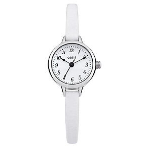 Oasis Ladies' Alloy White Leather Strap Watch - Product number 1014420