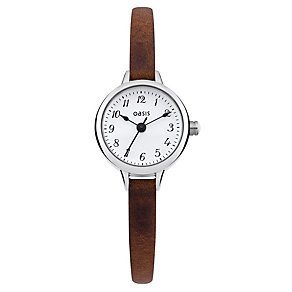 Oasis Ladies' Alloy Brown Leather Strap Watch - Product number 1014439