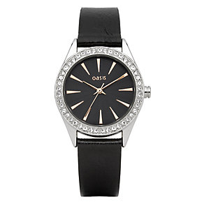 Oasis Ladies' Black Leather Strap Watch - Product number 1014447