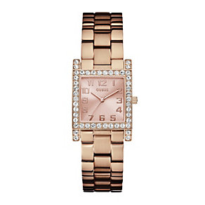Guess Ladies' Crystal Set Rose Gold-Plated Bracelet Watch - Product number 1014706
