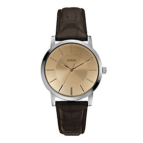 Guess Men's Stainless Steel Brown Leather Strap Watch - Product number 1014714