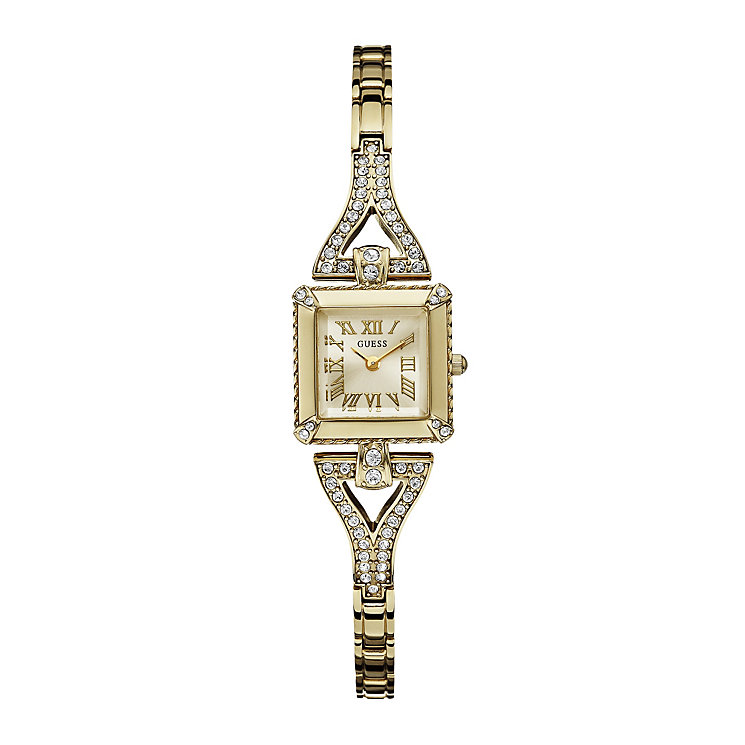 Guess Ladies' Crystal Set Gold-Plated Bracelet Watch - Product number 1014722