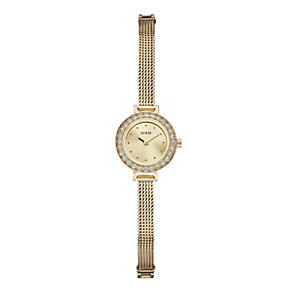 Guess Ladies' Champagne Dial Gold-Plated Mesh Bracelet Watch - Product number 1014730