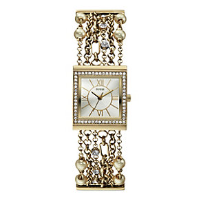 Guess Ladies' Pearl & Crystal Gold-Plated Bracelet Watch - Product number 1014749