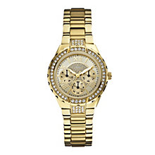 Guess Ladies' Crystal Set Gold-Plated Bracelet Watch - Product number 1014862