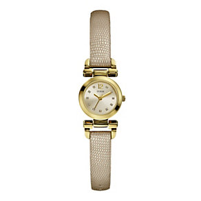 Guess Ladies' Champagne Dial Gold-Plated Leather Strap Watch - Product number 1015192
