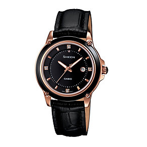Casio Sheen Ladies' Rose Gold-Plated Black Strap Watch - Product number 1015400