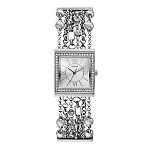 Guess Ladies' Pearl & Crystal Stainless Steel Bracelet Watch - Product number 1015427