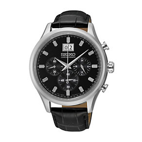 Seiko Men's Stainless Steel Black Leather Strap Watch - Product number 1015745