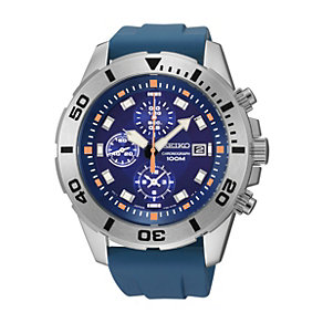 Seiko Men's Stainless Steel Blue PU Strap Watch - Product number 1015761
