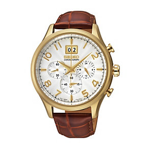 Seiko Men's Gold-Plated Brown Leather Strap Watch - Product number 1015796