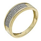 9ct yellow gold men's 22 point diamond pave ring - Product number 1016032