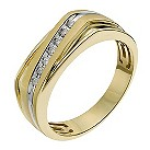 9ct yellow gold men's 10 point diamond stripe ring - Product number 1016164