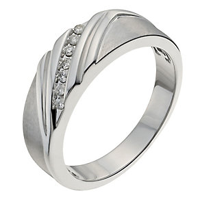Sterling silver men's diagonal diamond ring - Product number 1016296