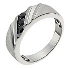 Sterling silver black sapphire diagonal three stone ring - Product number 1016423
