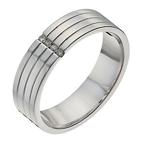Sterling silver men's diamond groove ring - Product number 1016962