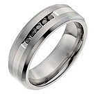 Titanium men's treated black diamond band ring - Product number 1017357