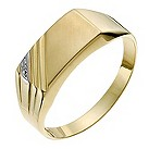 9ct yellow gold men's diamond corner detail ring - Product number 1017918