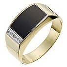 9ct yellow gold onyx & diamond flat ring - Product number 1018175