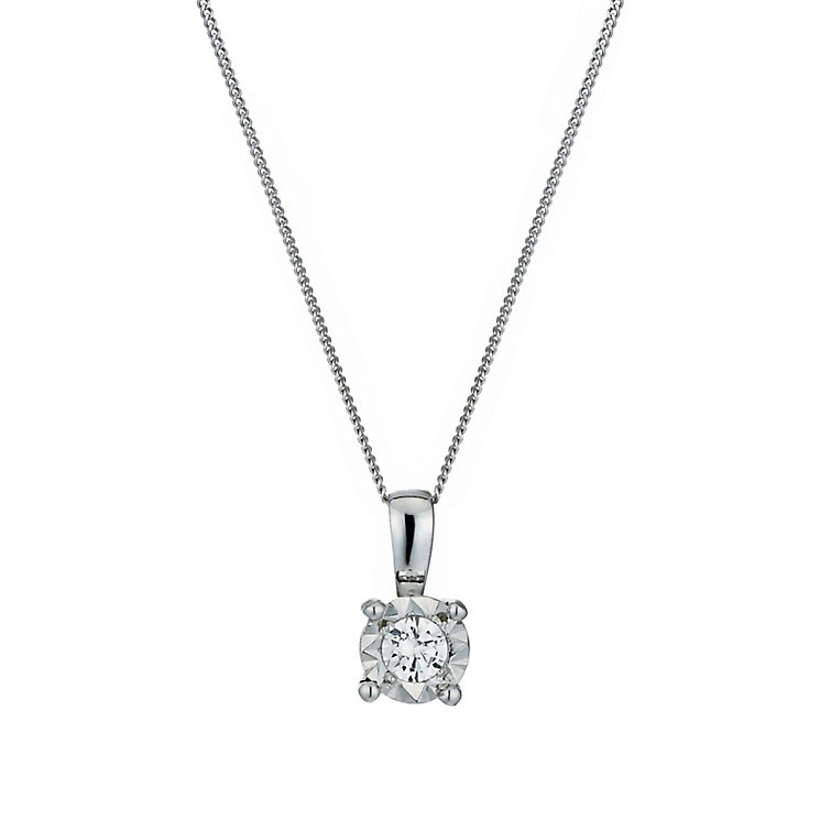 9ct White Gold Illusion 1/10 Carat Diamond Pendant Necklace - Product number 1020951