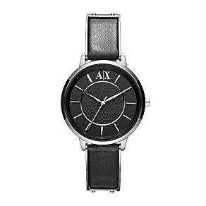 Ladies' Armani Exchange Black Leather Strap Watch - Product number 1021303