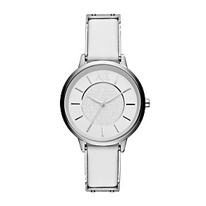 Ladies' Armani Exchange White Leather Strap Watch - Product number 1021311