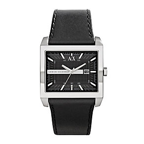 Armani Exchange Men's Steel Black Leather Strap Watch - Product number 1021427