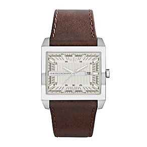 Armani Exchange Men's Almond Brown Leather Strap Watch - Product number 1021435