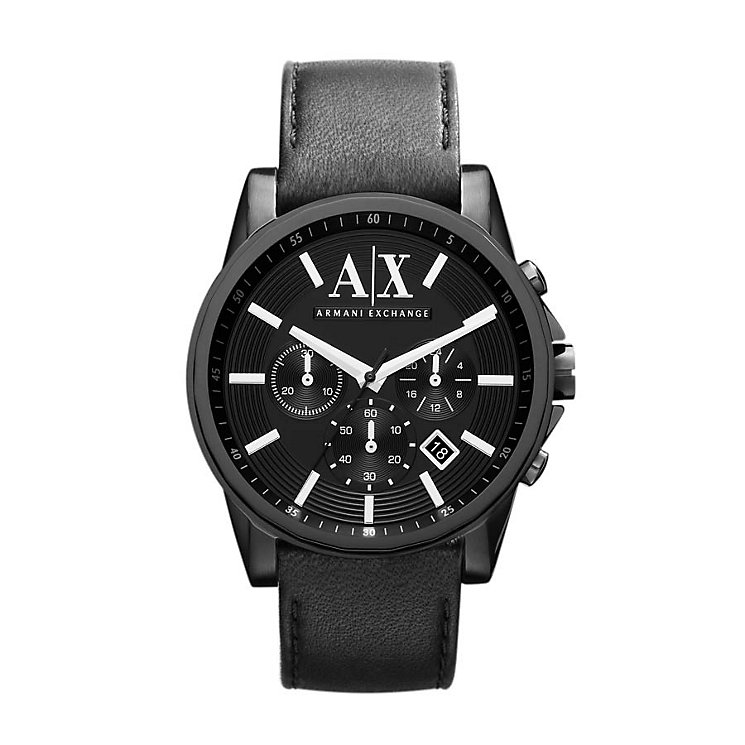 Armani Exchange Men's Black Dial Black Leather Strap Watch - Product number 1021443