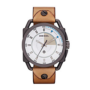 Diesel Men's Descender White Dial Brown Leather Strap Watch - Product number 1021516
