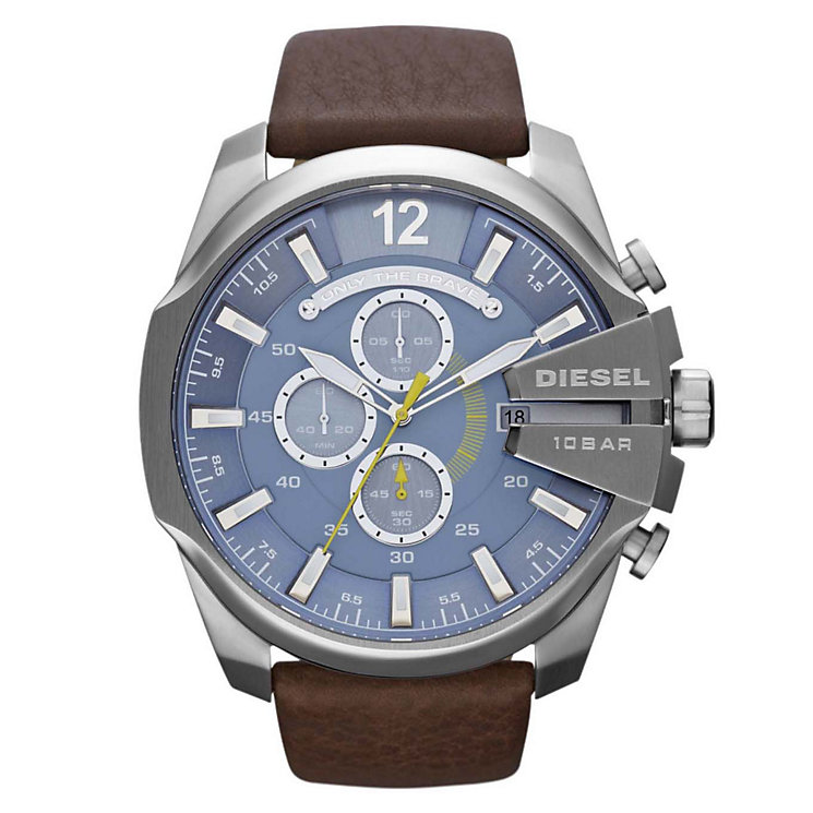 Diesel Mens Mega Chief Blue Dial & Brown Leather Strap Watch - Product number 1021540