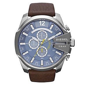 Diesel Men's Mega Chief Blue Dial Brown Leather Strap Watch - Product number 1021540