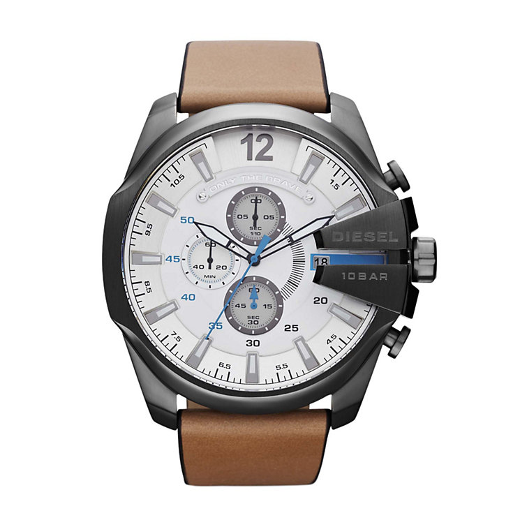Diesel Mens Mega Chief White Dial & Light Brown Strap Watch - Product number 1021567