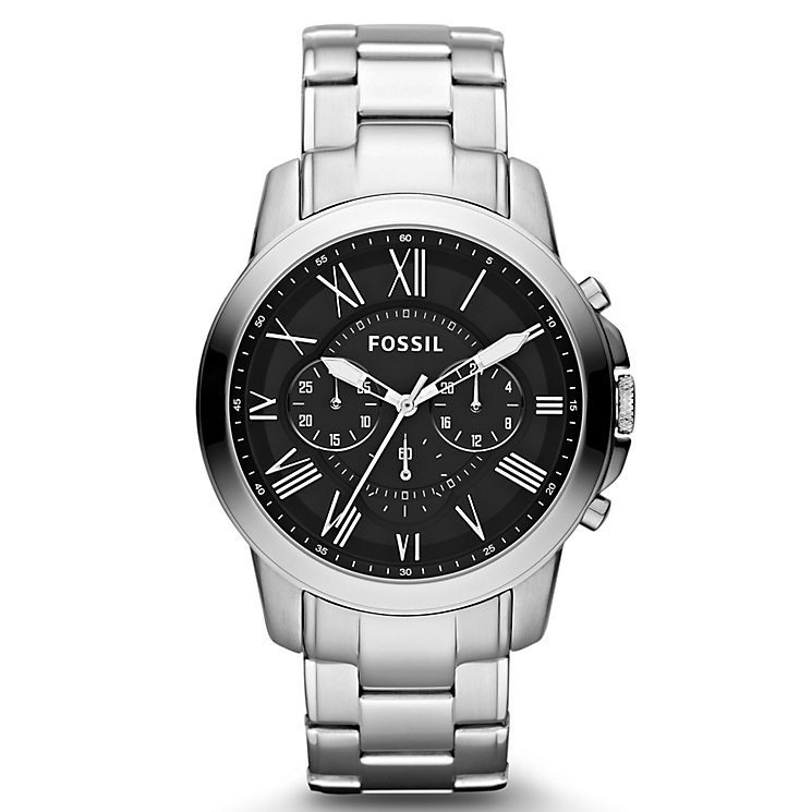 fossil watches men s ladies official fossil h samuel fossil grant men s black dial stainless steel bracelet watch product number 1021621